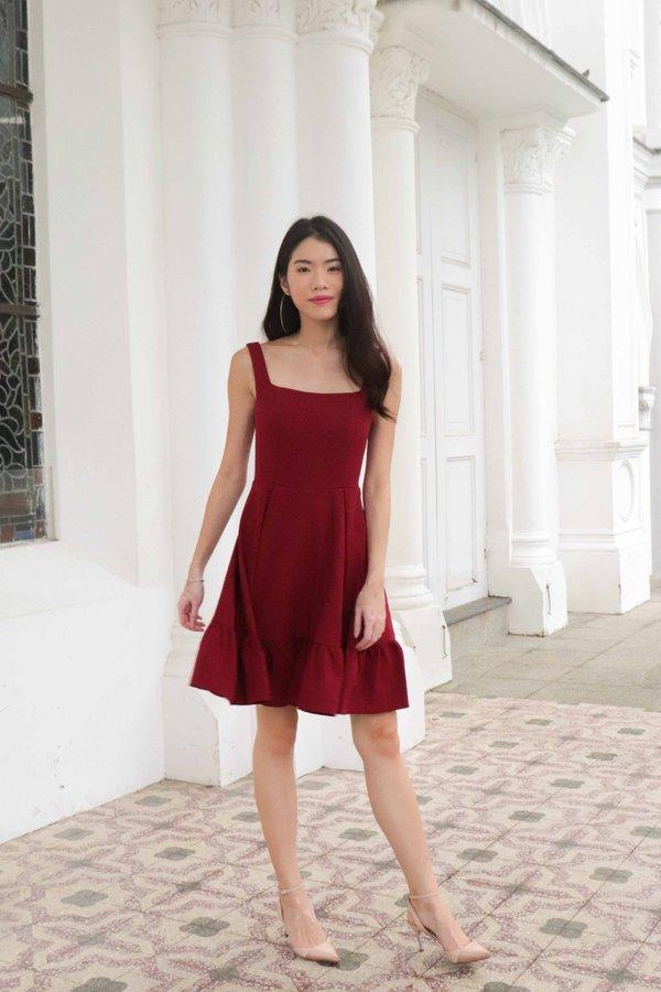 Ariel Ruffles Dress V2 in Wine Red