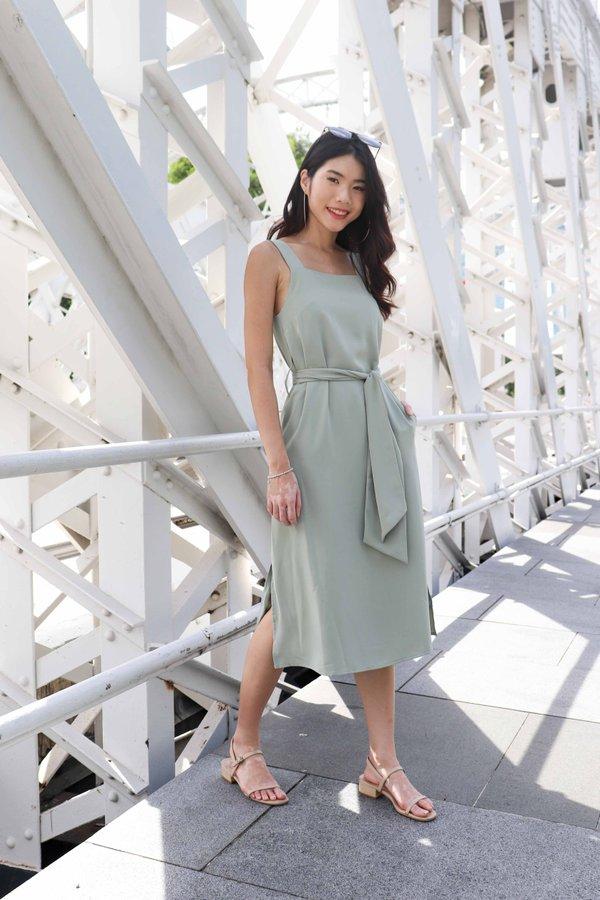 Delia Side Slit Dress in Sage