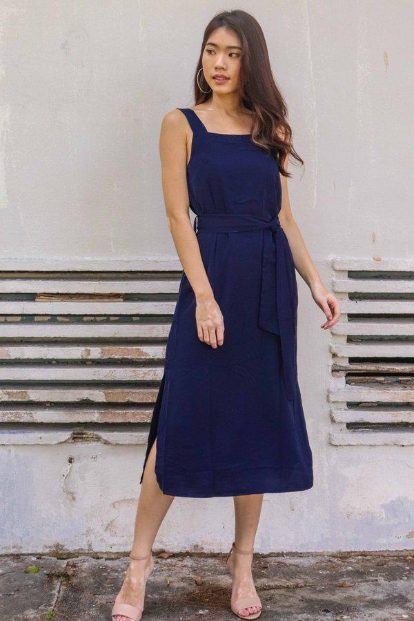 Delia Side Slit Dress in Mid Night Blue