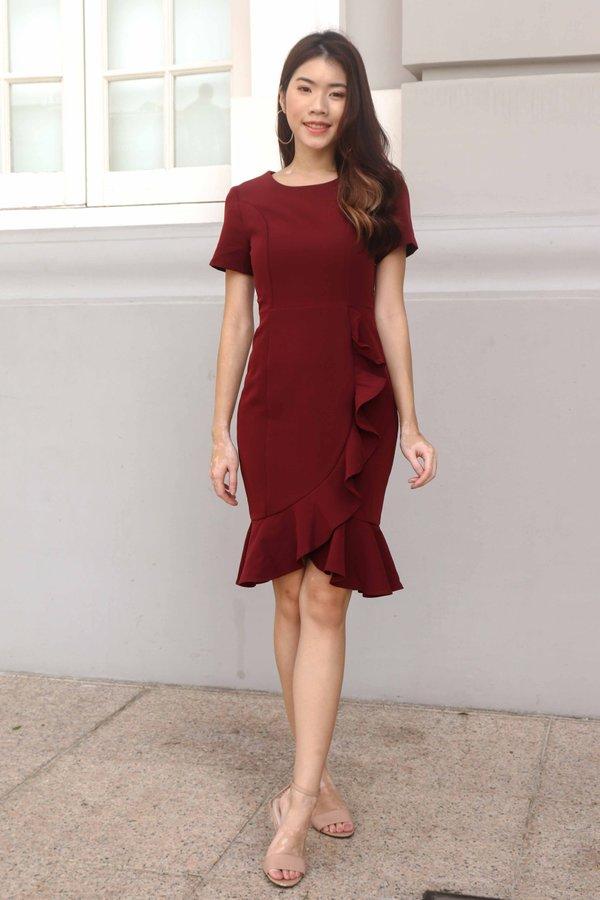 Madeline Ruffles Sleeve Dress in Maroon
