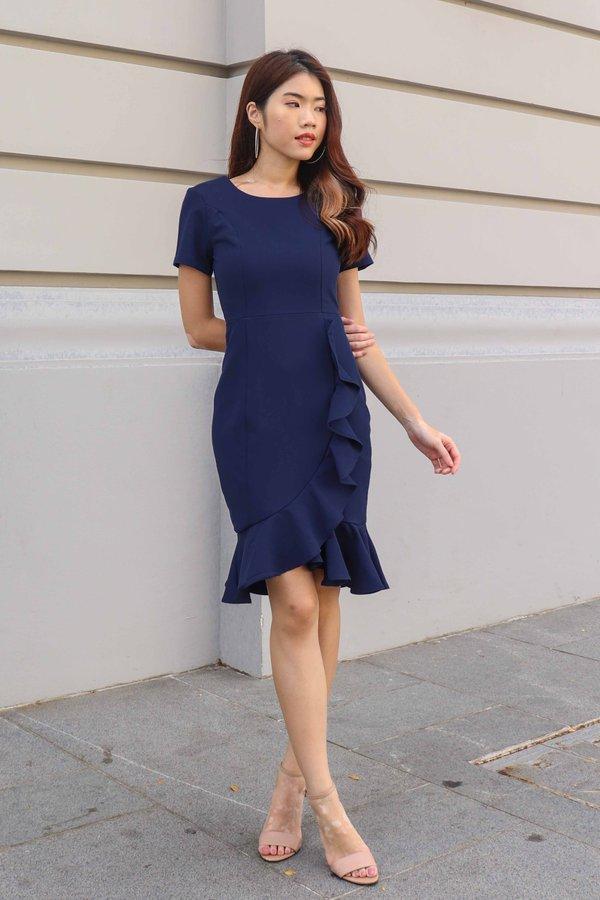 Madeline Ruffles Sleeve Dress in Navy