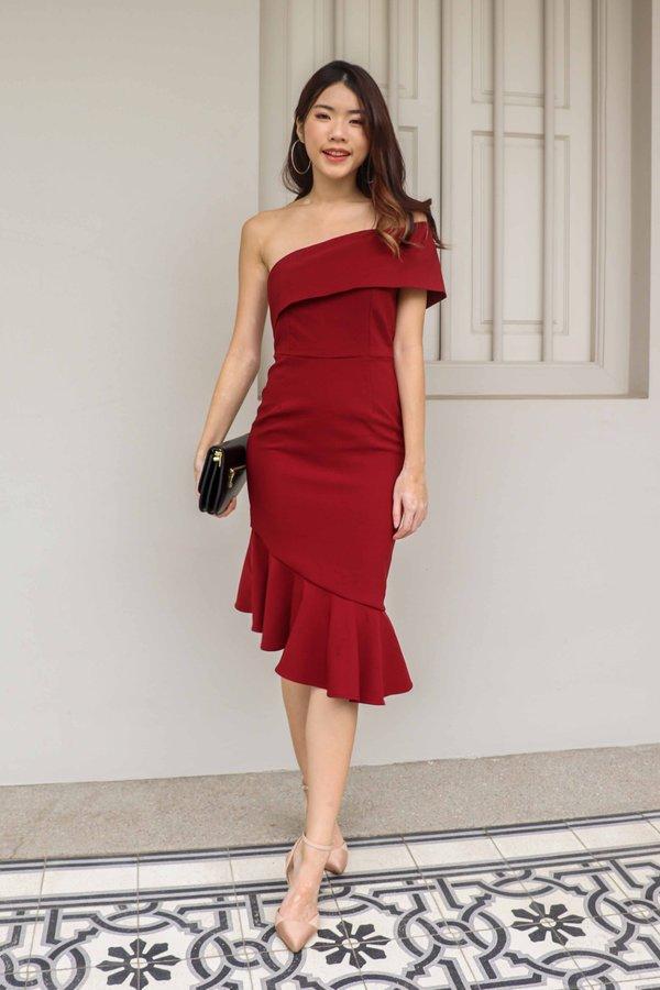 Evelyn Toga Dress V2 in Maroon