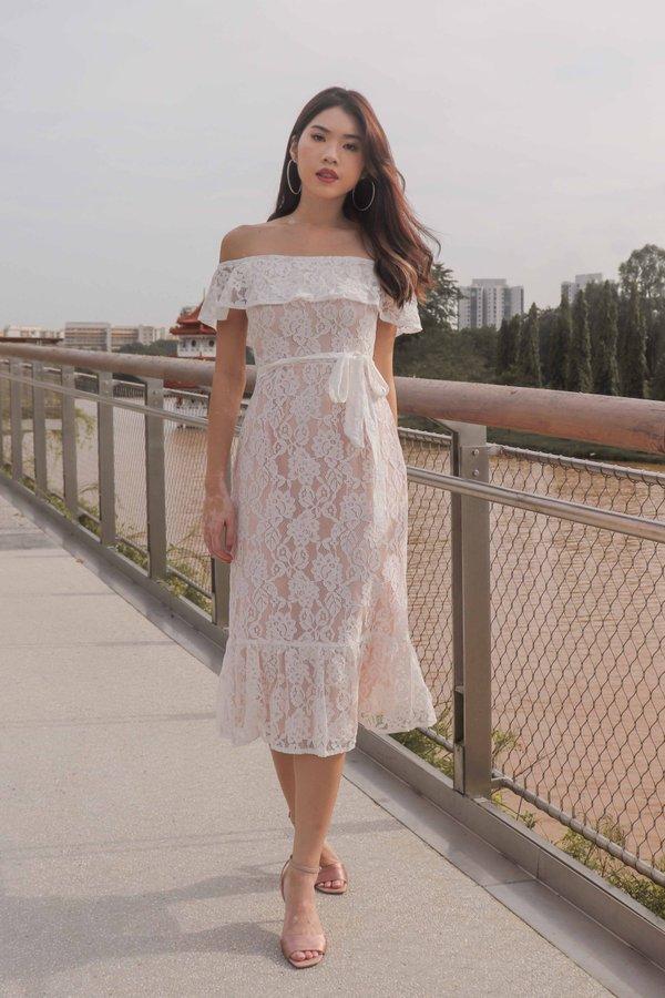 *PREMIUM*Brielle Off Shoulder Lace Dress in White