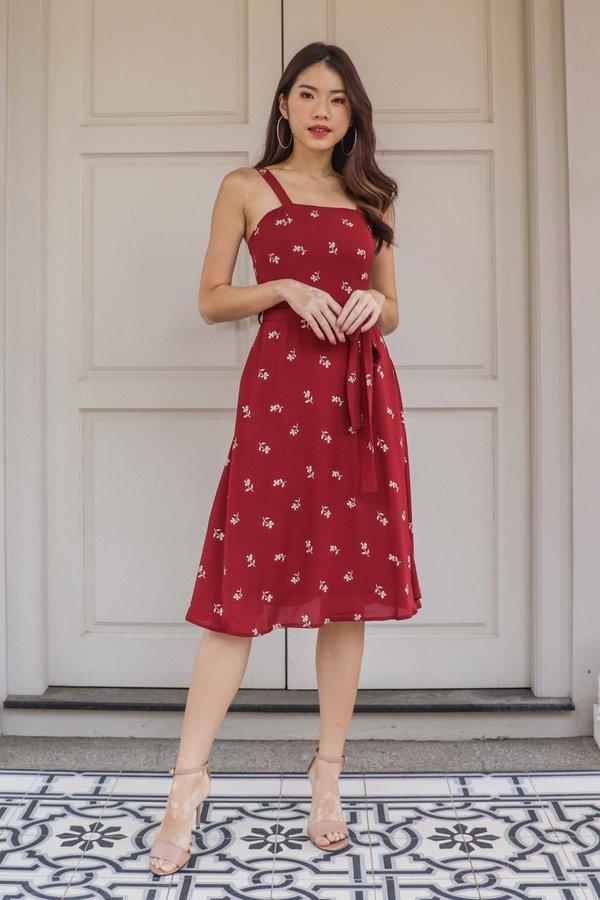 *RESTOCKED* Coe Floral Dress in Maroon