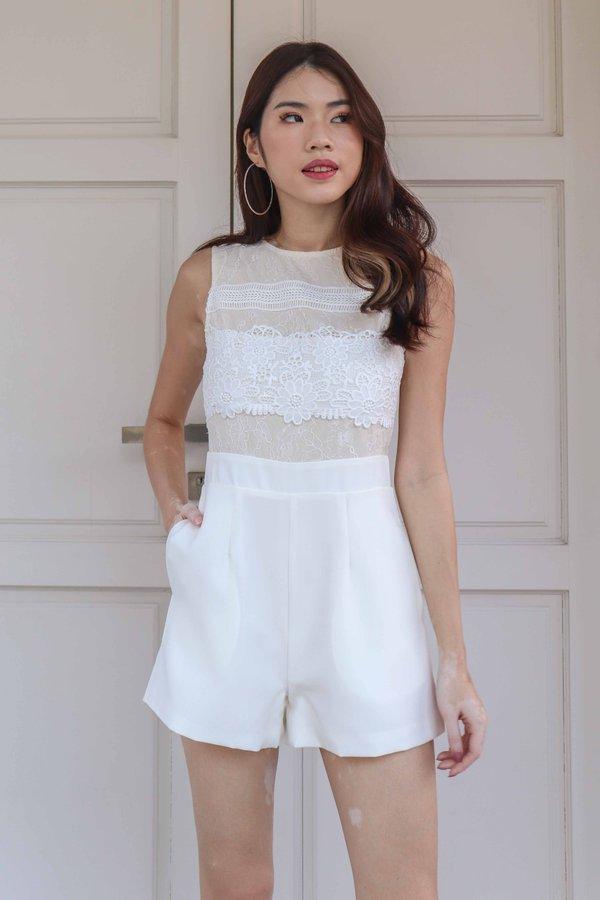 Carli Lace Romper in White