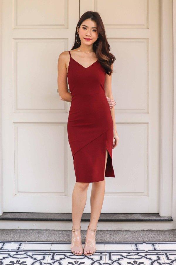 Novah Side Slit Dress in Maroon