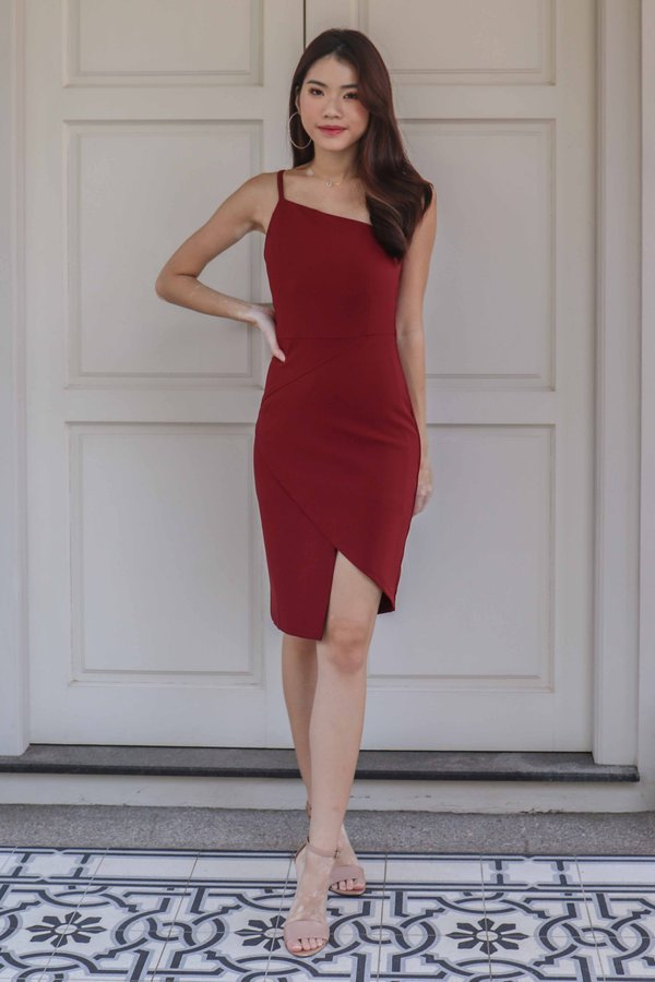 Ellen Toga Dress in Maroon