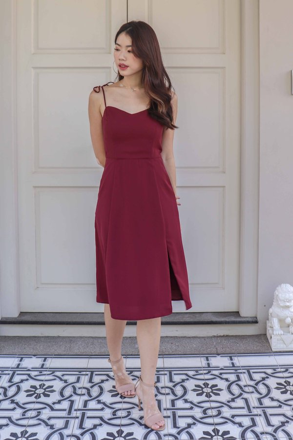*RESTOCKED* Monet Essential Tie String Slit Dress in Maroon