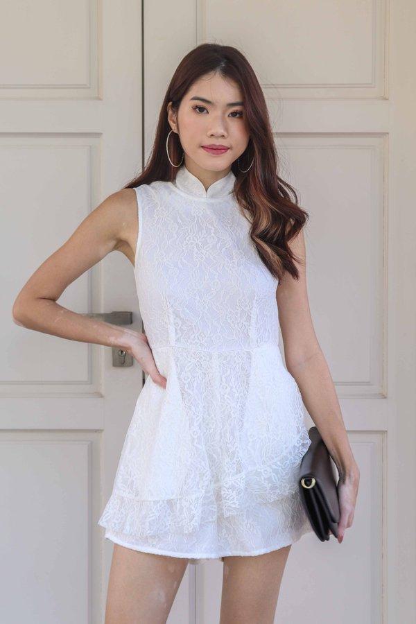 Juel Lace Romper in White
