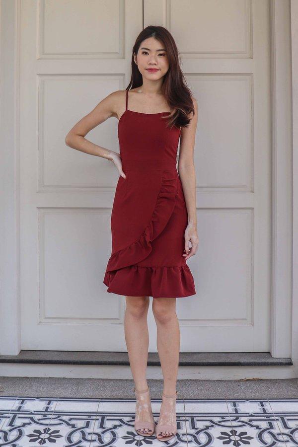 Molley Dress Romper in Maroon