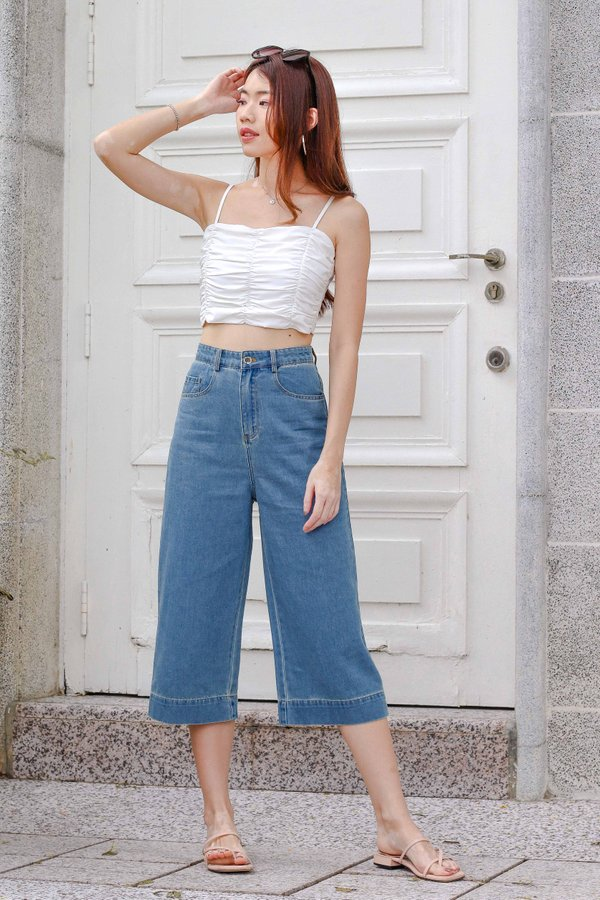 First Ever Denim Culottes in Mid Wash
