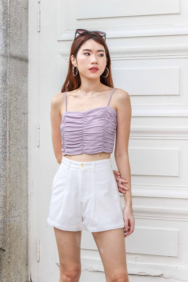 Delaney Ruched Crop Top in Lilac