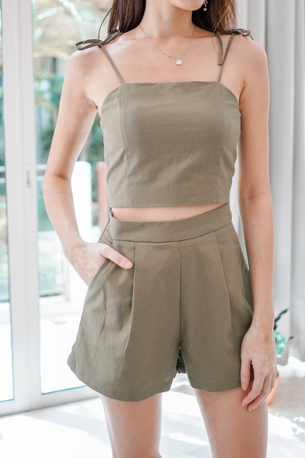 Ace Tie String Linen Padded Crop Top in Olive