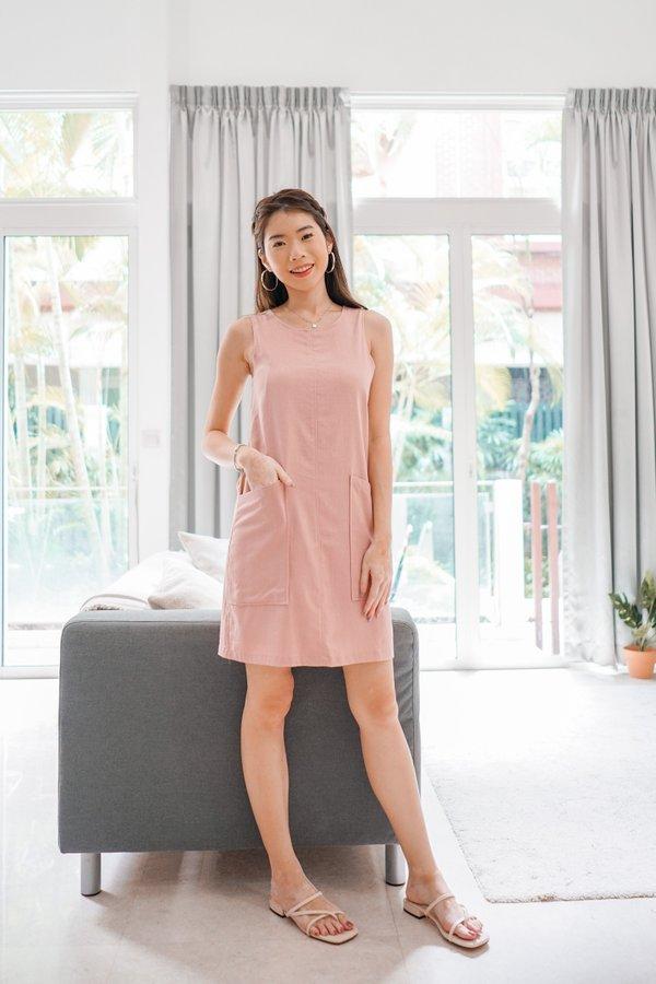 Odessa Shift Dress in Dusty Pink