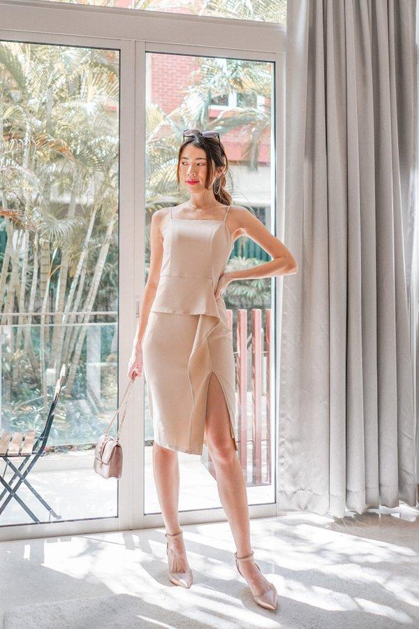 Brenda Ruffles Slit Dress in Nude