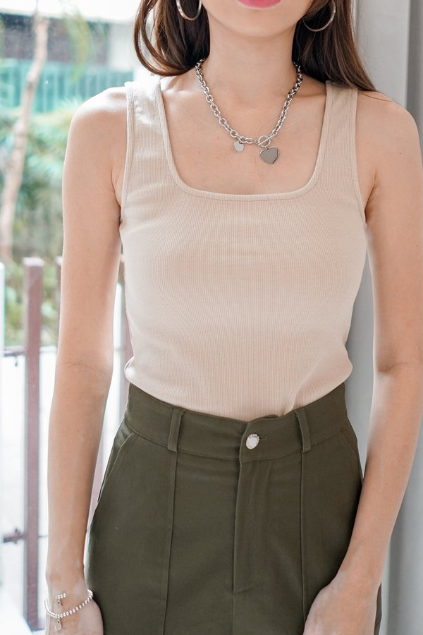 Sarah 2-way Ribbed Tank Top in Nude