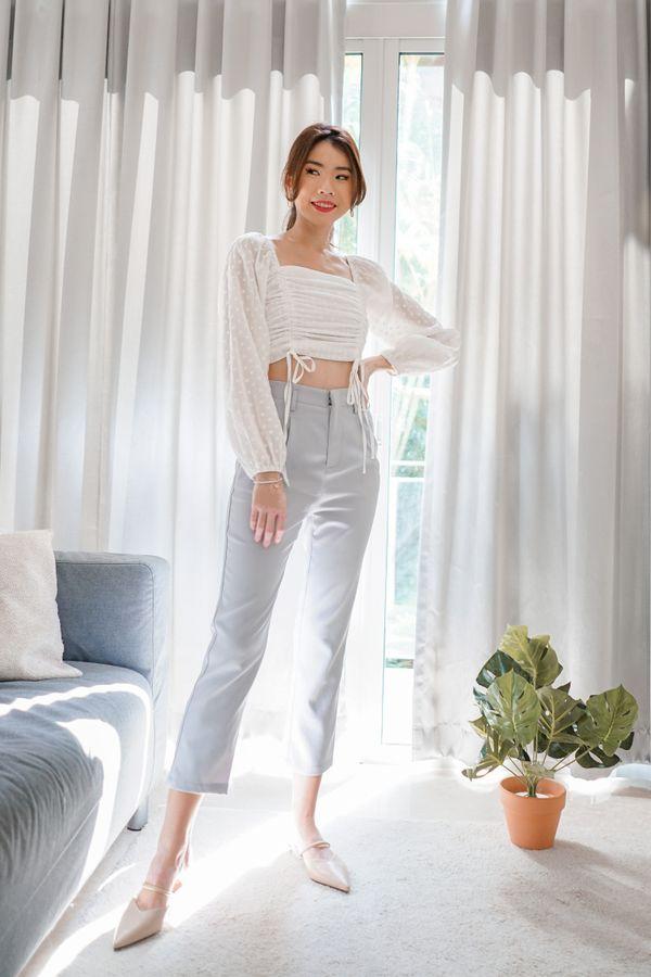 Hallie Slim Fit Tapered Pants in Lilac Grey