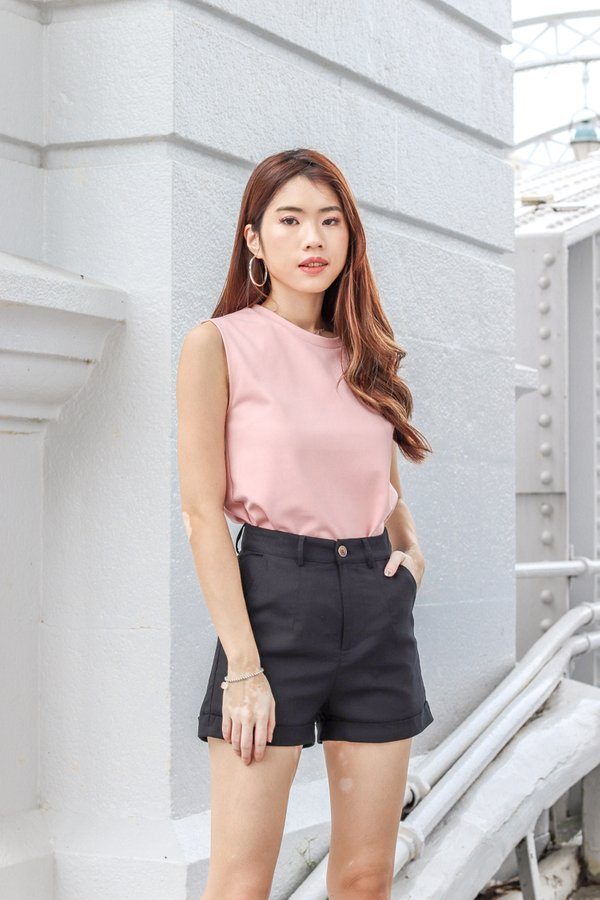 Pia Basic Muscle Tee in Pink