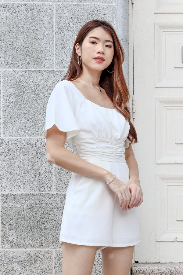 Stella Ruched Romper in White
