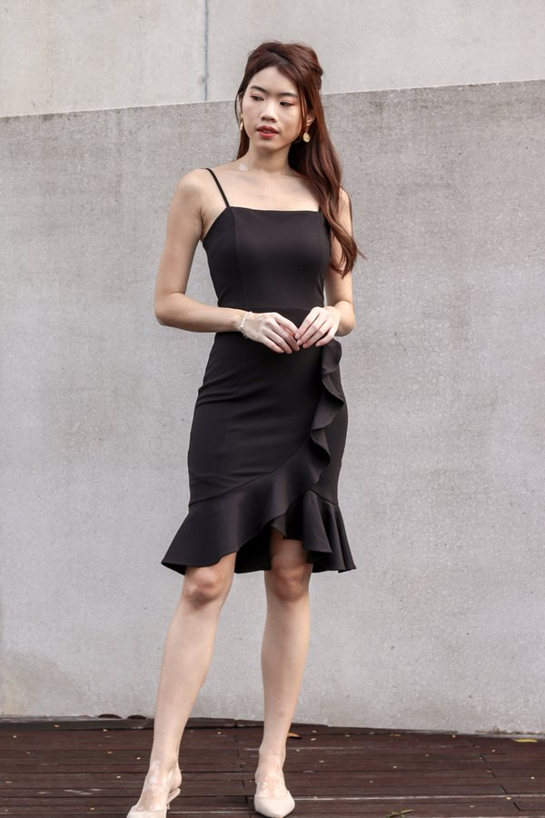 Madeline Ruffles Hem Dress V2 in Black