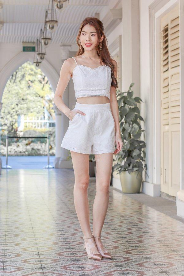 Faith Eyelet Shorts in White