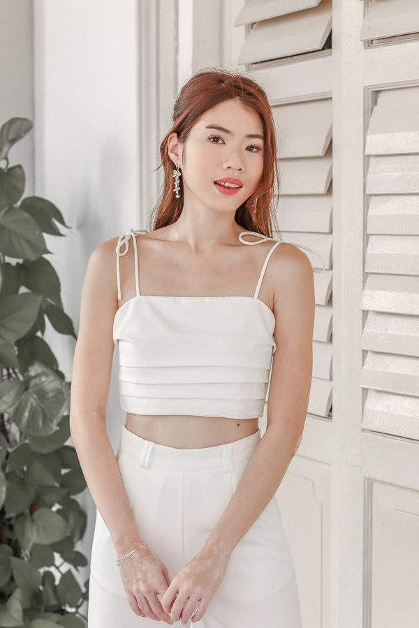 Mackenzie Tie String Top in White