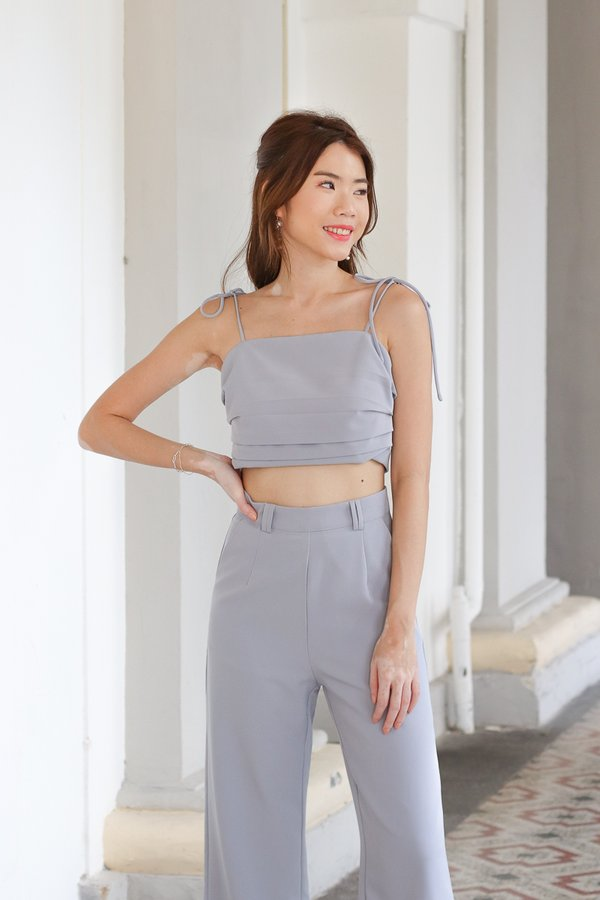 Mackenzie Tie String Top in Greyish Blue