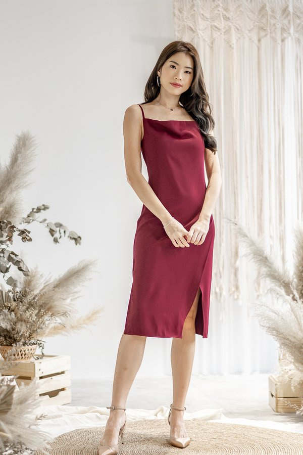 Willow Cowl Neck Dress in Wine Red