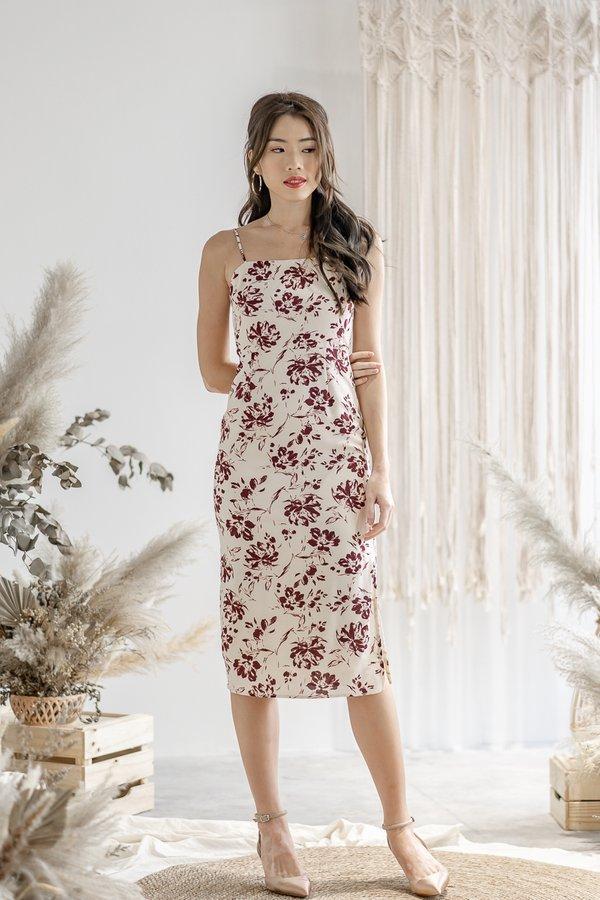 Rylee Floral Print Dress in Cream