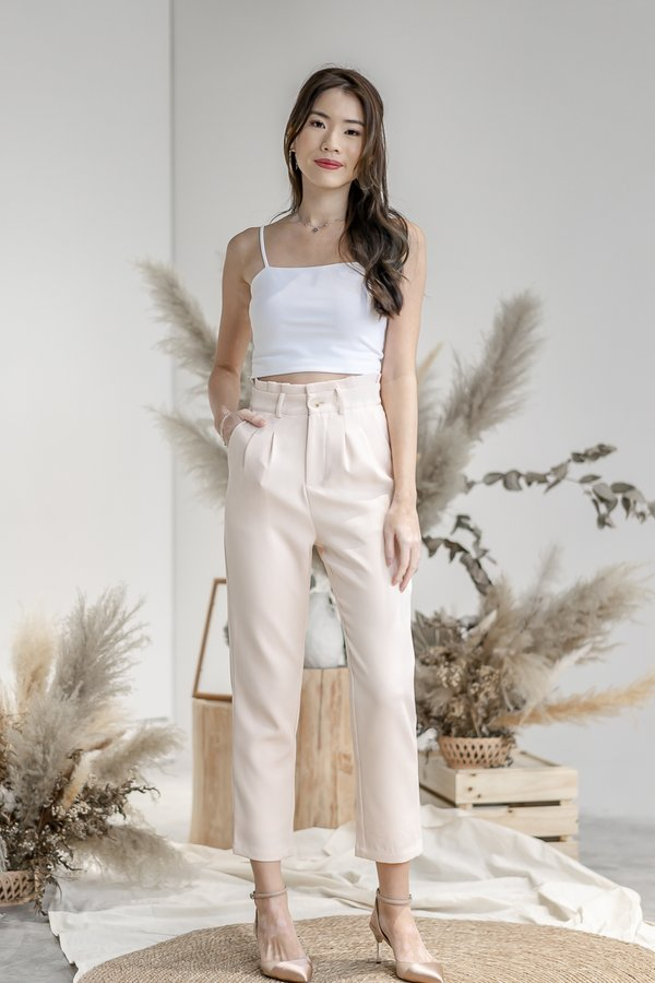 Isabelle Paper Bag Pants in Cream