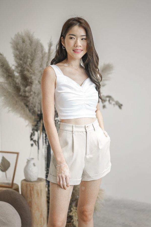 Elena Satin Top in White