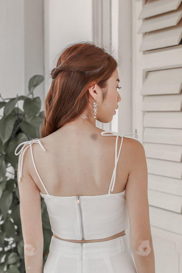 Mackenzie Tie String Top 2 Piece Set in White