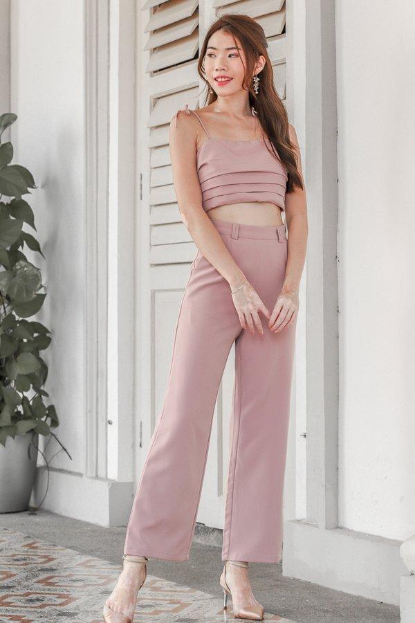 Mackenzie Tie String Top 2 Piece Set in Pink