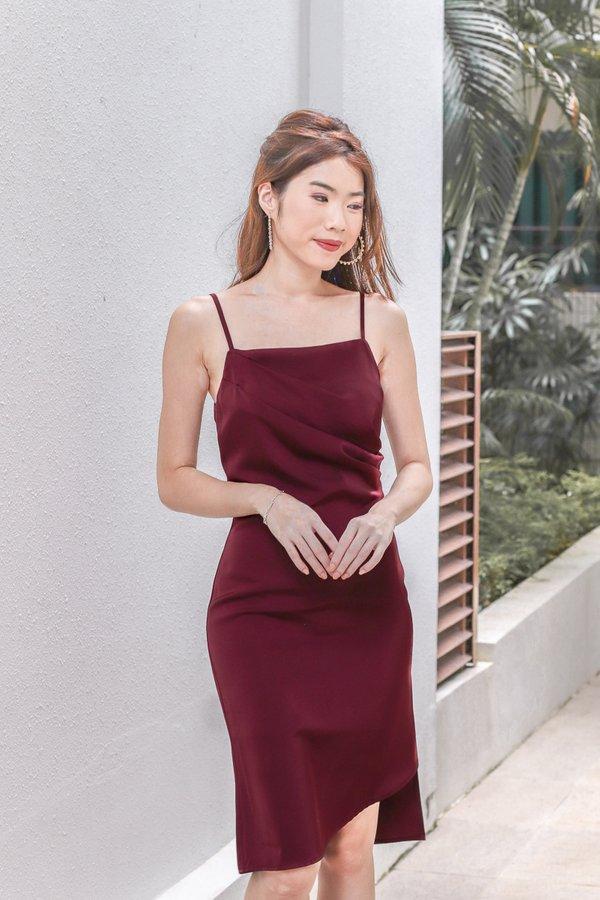 Valentina Satin Drape Dress in Wine Red