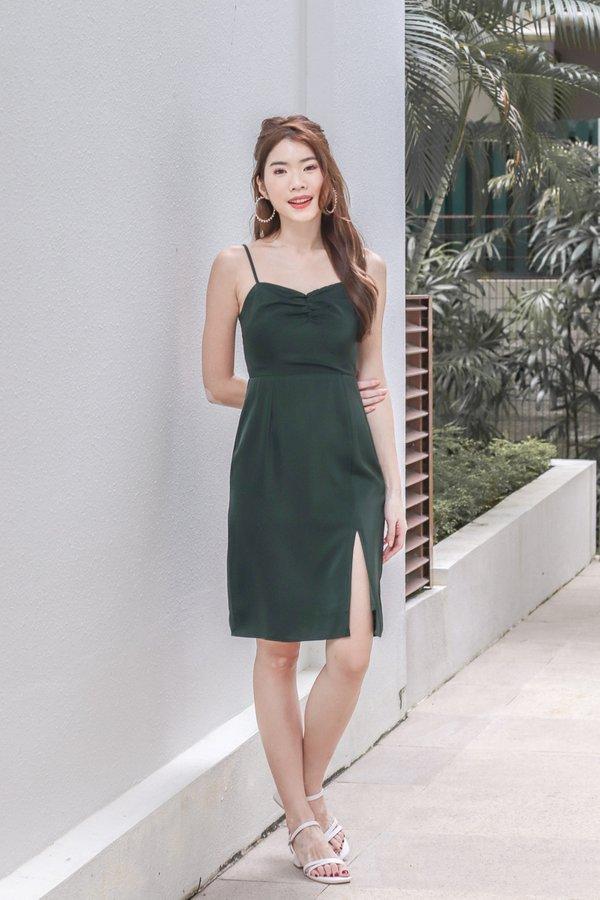Aranda Satin Slit Dress in Forest Green