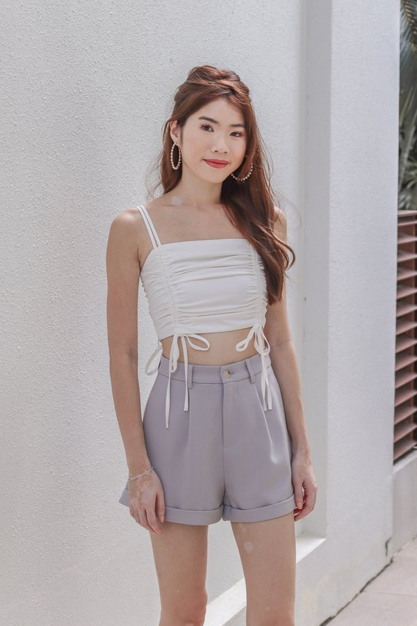 Hashy Ruched Crop Top in White