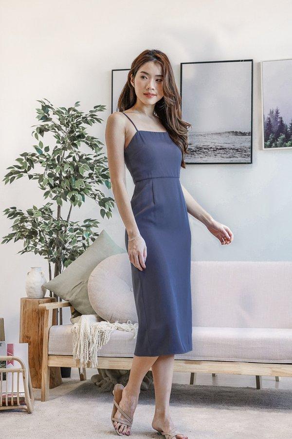 Rylee Side Slit Dress in Ash Blue