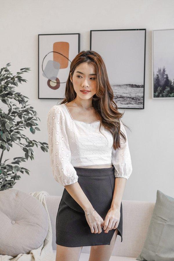Iola Eyelet Cotton Top in White