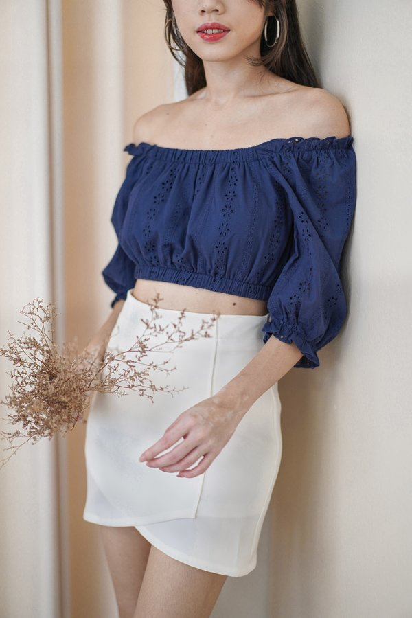 Thora Eyelet Top in Navy
