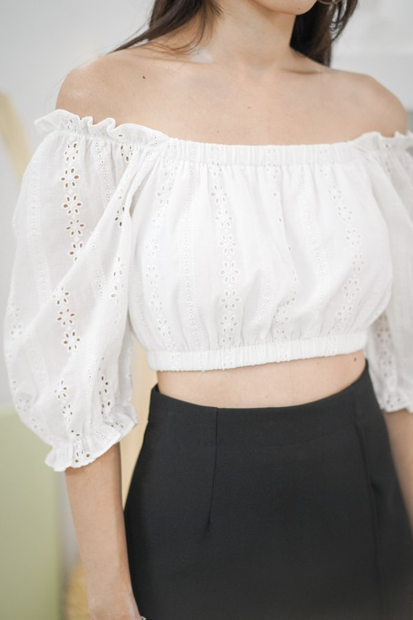 Thora Eyelet Top in White