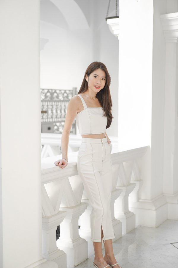Brianna Contrast Stitch Pants in White