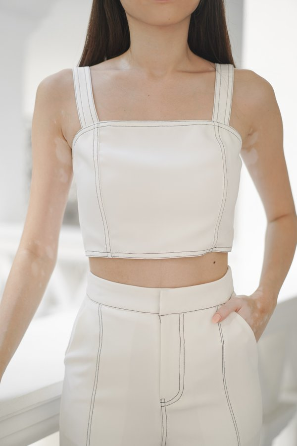 Brianna Contrast Stitch Top in White