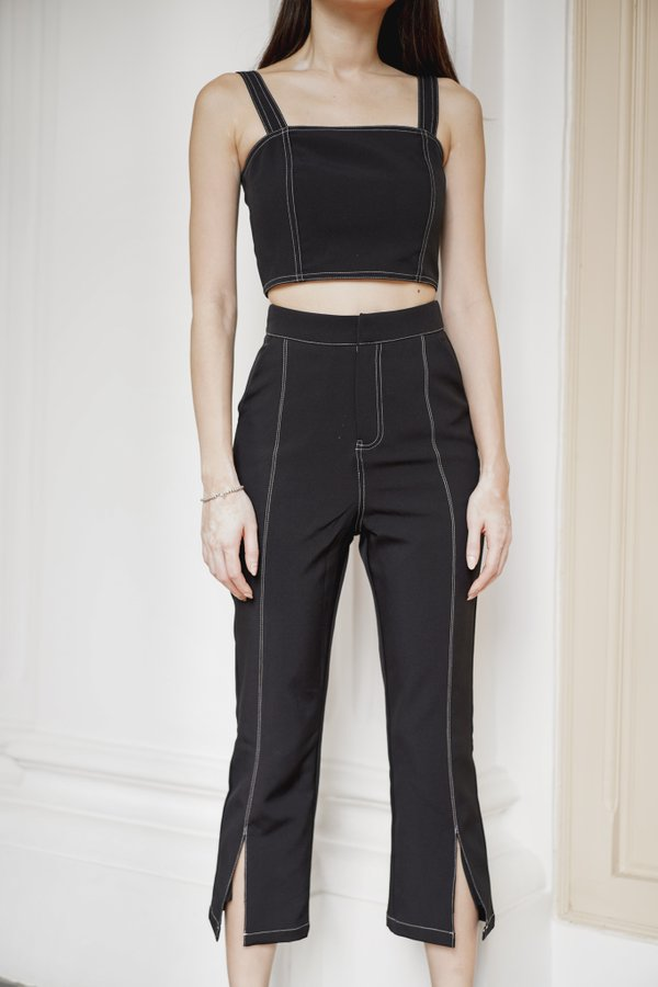 Brianna Contrast Stitch Pants in Black