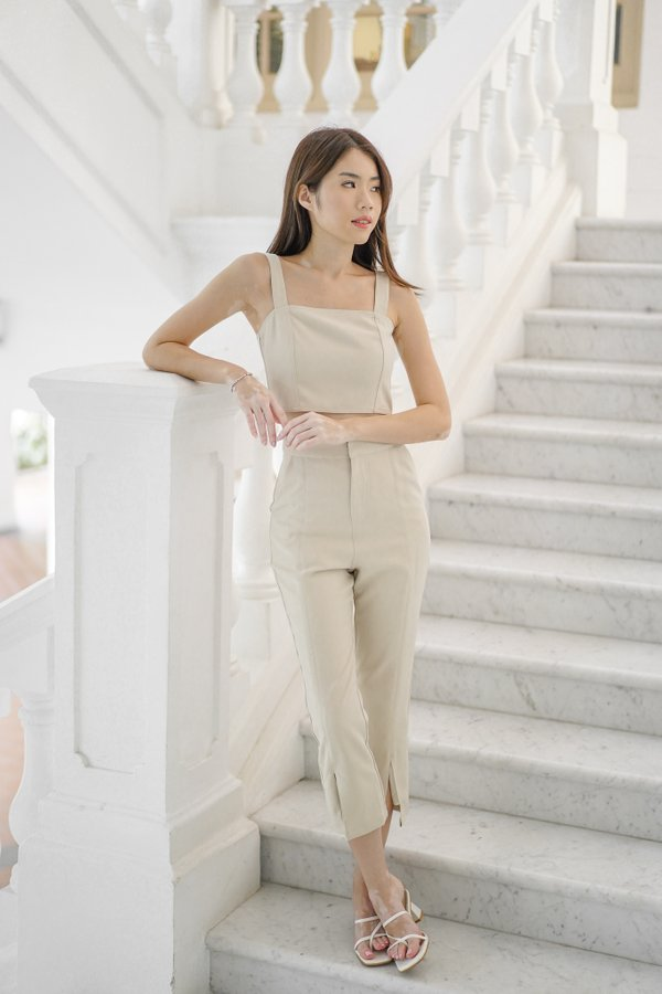 Brianna Contrast Stitch Pants in Ecru