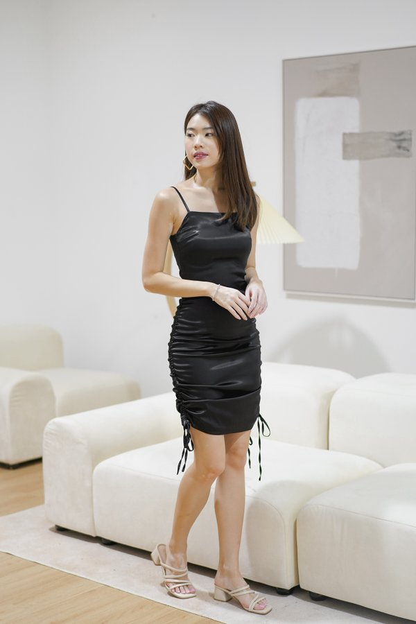 Aries Ruched Satin Dress in Black