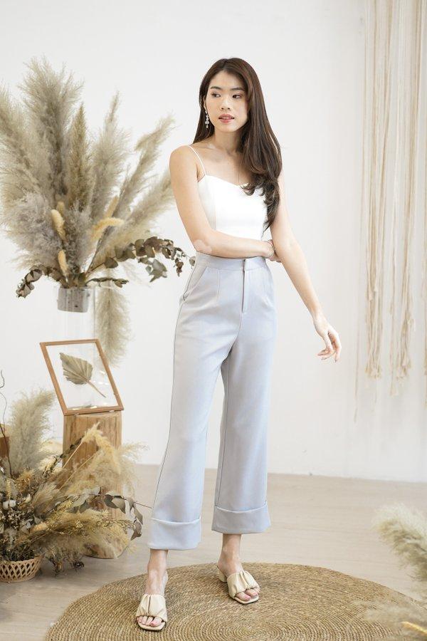 Juno High Waist Cuffed Pants in Grey