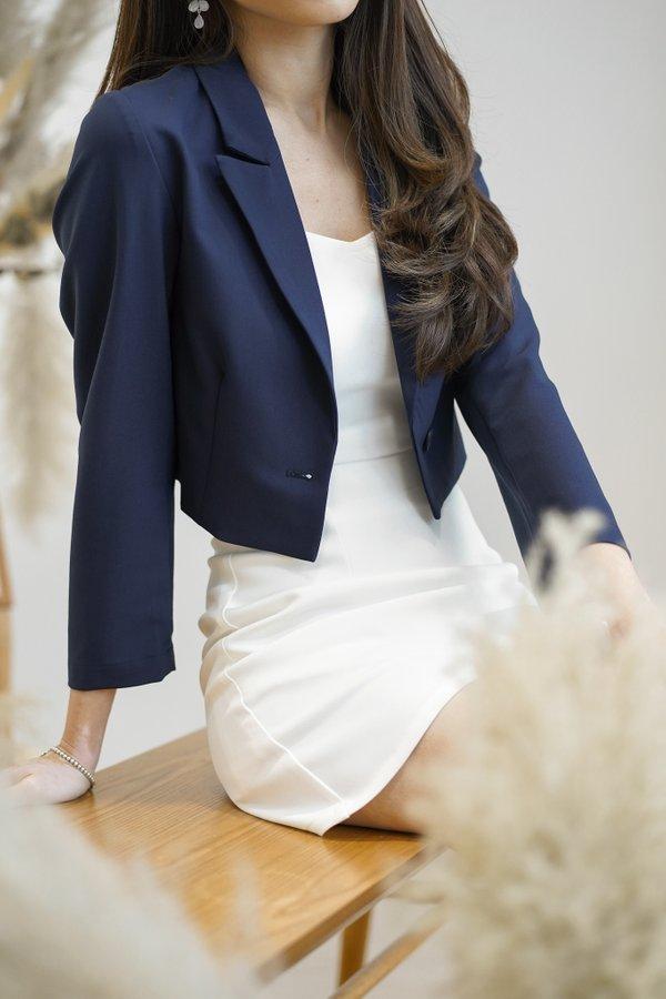 Olivia Cropped Single Button Blazer in Navy