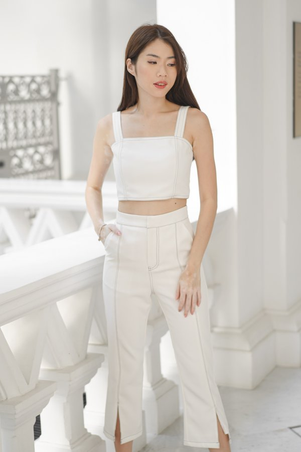 Brianna Contrast Stitch 2 Pieces Set in White