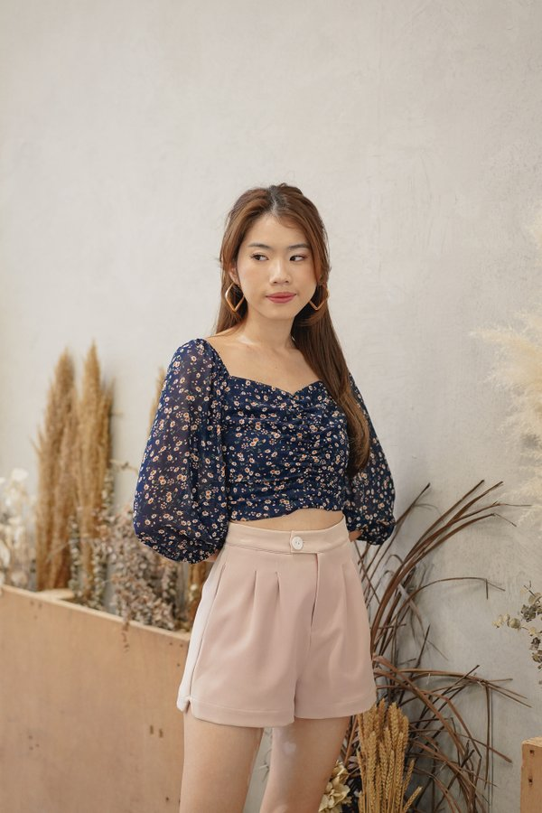 Jaeda High Waist Shorts in Dusty Pink