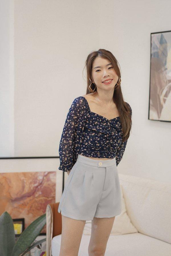 Jaeda High Waist Shorts in Dove Blue